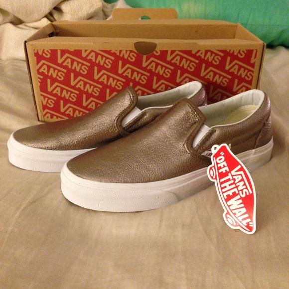 bdd19f5563 🌟Metallic bronze leather vans slip on sneakers!🌟