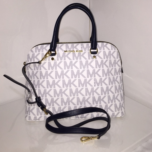 f05b2fe1aaf6 MICHAEL Michael Kors Bags | Authentic Mk Cindy Navywhite Md Dome ...