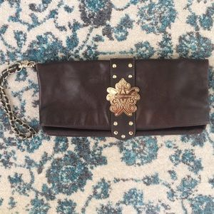 Elliott Lucca Brown leather fold over clutch