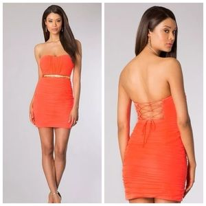 Hailey Logan Dresses & Skirts - Hailey Logan Neon Lace Up Sexy Wiggle Dress XS