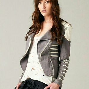 Jackets & Blazers - Gray military jacket with chains and white power s