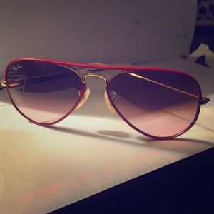 Rayban red and gold frame aviator sunglass