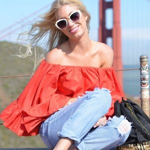 Boohoo Tops - Red off the shoulder ruffle top