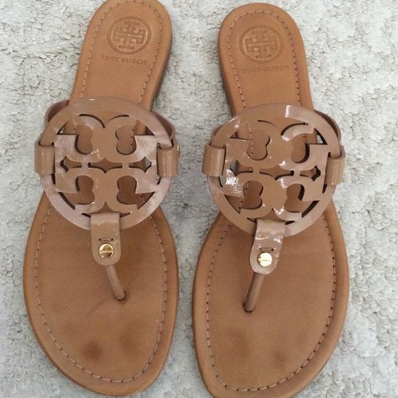 21433ee11599 Tory burch miller saffiano patent sandals. M 55c78680bab32d653e00b061