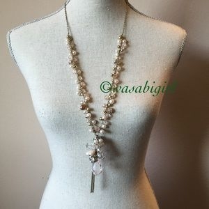 Faux Pink Pearl and Lucite Necklace
