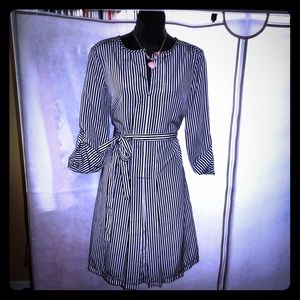 Black & White Vertical Stripes Dress