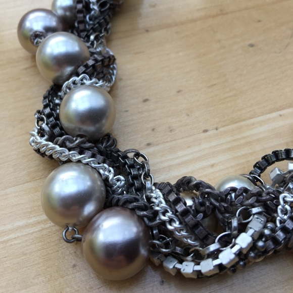 Ribbon tie necklace w pearl balls chains gems os from for Ribbon tie necklace jewelry