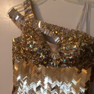 Gold sequence and jeweled prom dress
