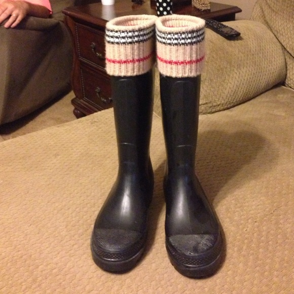 Burberry Boots Rainboots Black With Knit Top Poshmark