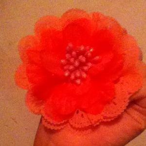 Dark/hot pink hair flower tie