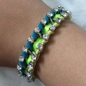 Blue and green rhinestoned bracelet