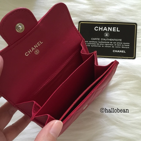 Chanel Sold Auth Chanel Lambskin Flap Coin Card Holder