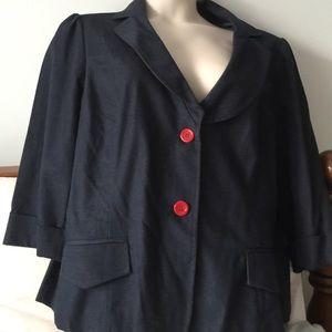 Jackets & Blazers - Dark denim jacket with red buttons