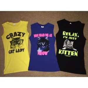 ✨BUNDLE✨ Cat t-shirts with cut off sleeves