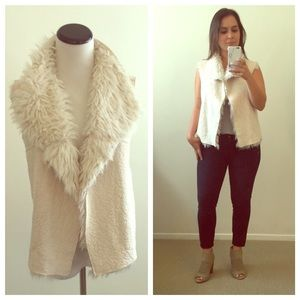 Outerwear - Faux Suede Shearling Vest