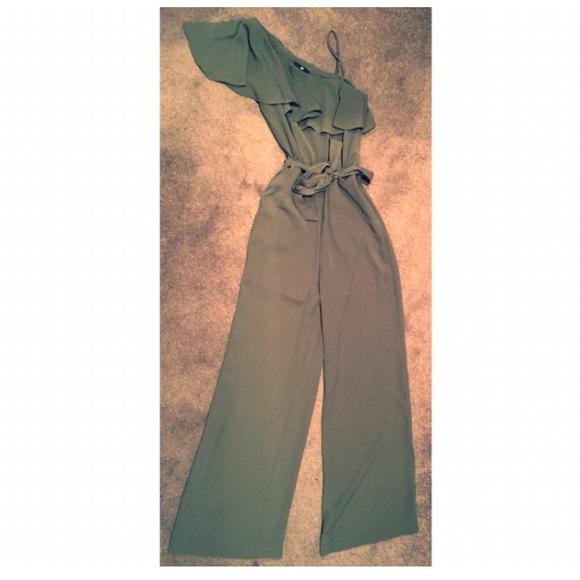43622cec0c86 H M Olive Green One Shoulder Jumpsuit