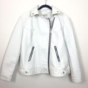 ASOS Jackets & Blazers - NWOT ASOS white vegan leather moto jacket.