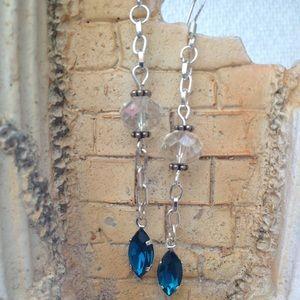 Jewelry - Elegant Swarovski crystal and sapphire earrings