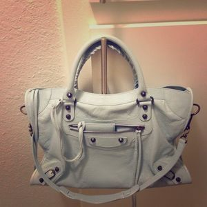 Balenciaga Classic City Bag with Sky Blue