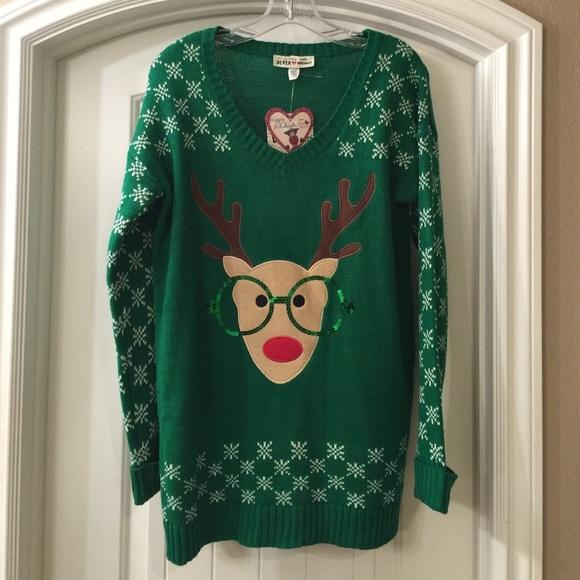 Nerdy Christmas Sweaters.Maternity Nerd Reindeer Christmas Sweater New Nwt