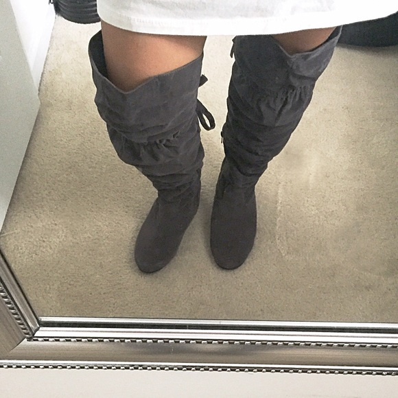 Grey Over The Knee Flat Boots | FP Boots