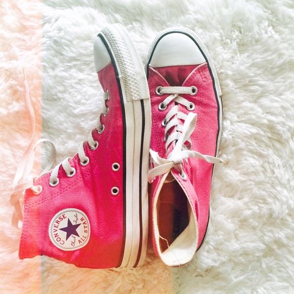 557e551daedd Converse Shoes - 💋HOT PINK CHUCK TAYLOR CONVERSE HIGH TOPS💋
