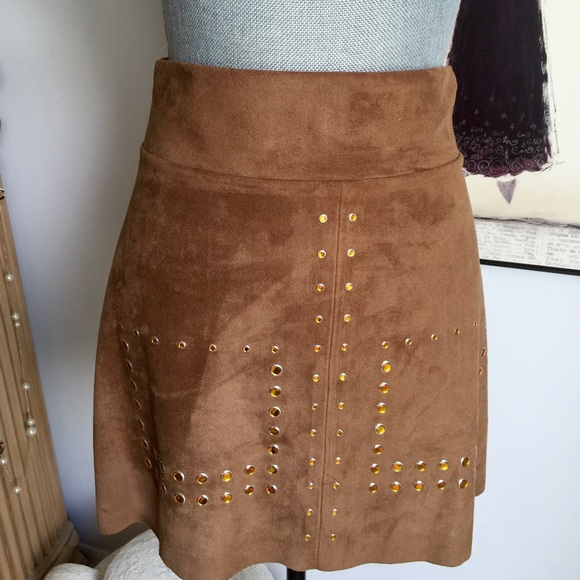 9b1d374875 Zara Skirts | Faux Suede Brown Studded Skirt | Poshmark