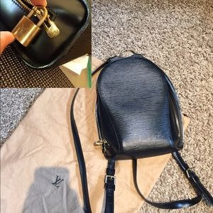 Authentic Epi Louis Vuitton Black Leather Backpack