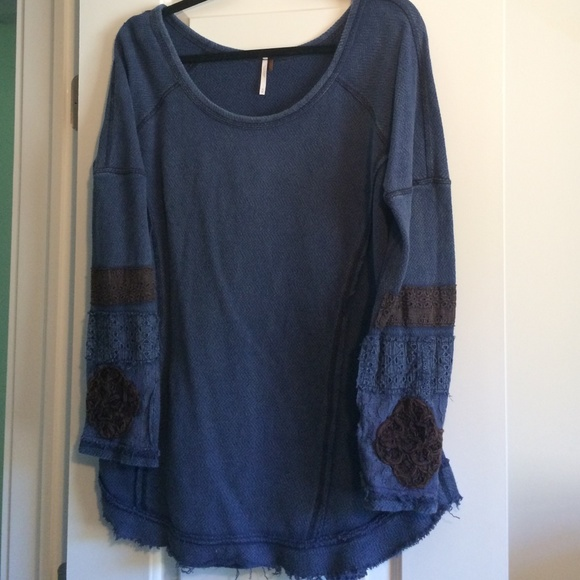 Off free people tops embroidered cuff