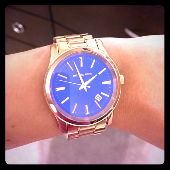 Michael Kors Women s Rose Gold Watch w Blue Face. M 55c8eb5193615327c701305f b439abfbf21b
