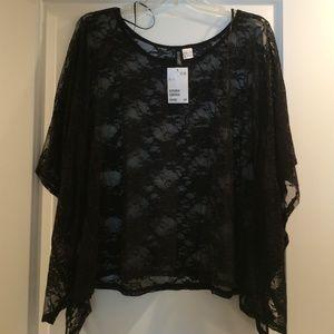 H&M black lace handkerchief hem top size 8