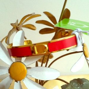 "NWT Chris Burch ""D"" Initial Gold/Red Bangle"