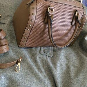 Handbags - Brown studded Louis inspired mini duffle