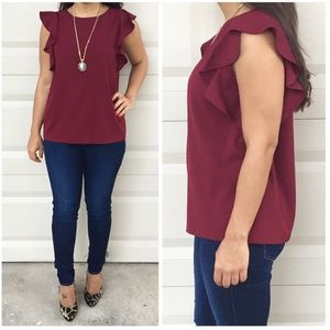 Oxblood Ruffled Sleeve Top
