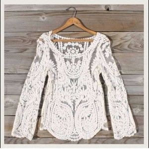 Tops - 🎉🎊NWT Cream lace long sleeve top