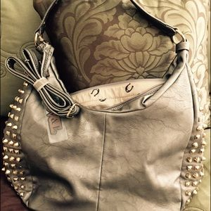 Shoulder Bag in Pewter with Studs in Gold