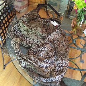 Hobo Tote in Animal Print with Scarf
