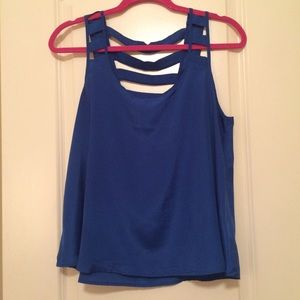 ZINGA Tops - Royal Blue Tank with Cutouts