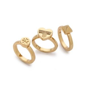 Tory Burch 16k gold ring set
