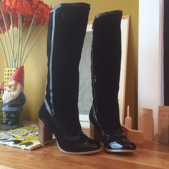 Killah Suede and Patent leather Tall Black Boots