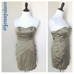 rhapsody Dresses & Skirts - {boutique} olive strapless military dress