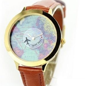 Urban Outfitters Leather plane world map watch