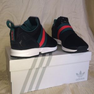 official photos bc6a9 972bd Custom Gucci Adidas Zx Flux Slip on sneakers NWT