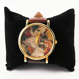 World map watch brown faux leather travel gold