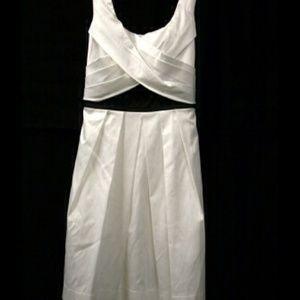 White with Black Sash Cocktail Dress