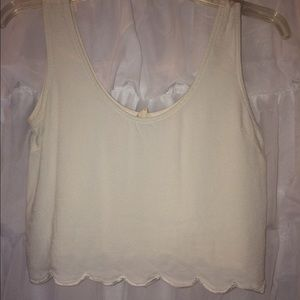 Off white Scalloped Bottomed Crop Tank Top