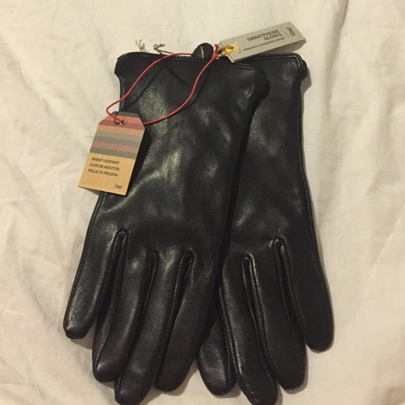 GAP Men/'s Wool Leather Blend Smartphone Screen Touch Navy Black gloves L//XL NWT