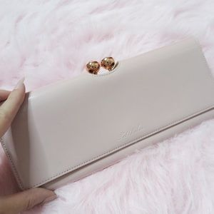 Ted Baker Bags - Ted Baker Light Pink Clutch w/ Crystal Clasp
