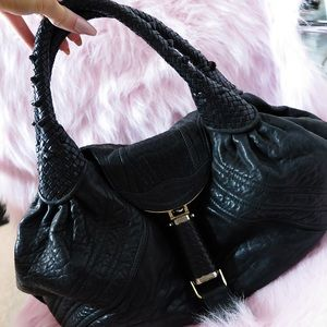 FENDI Handbags - Fendi Large Spybag in Black Leather
