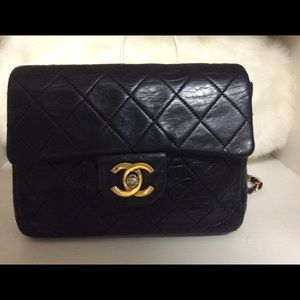 Vintage Chanel Double Flap Blk Quilted shoulderbag